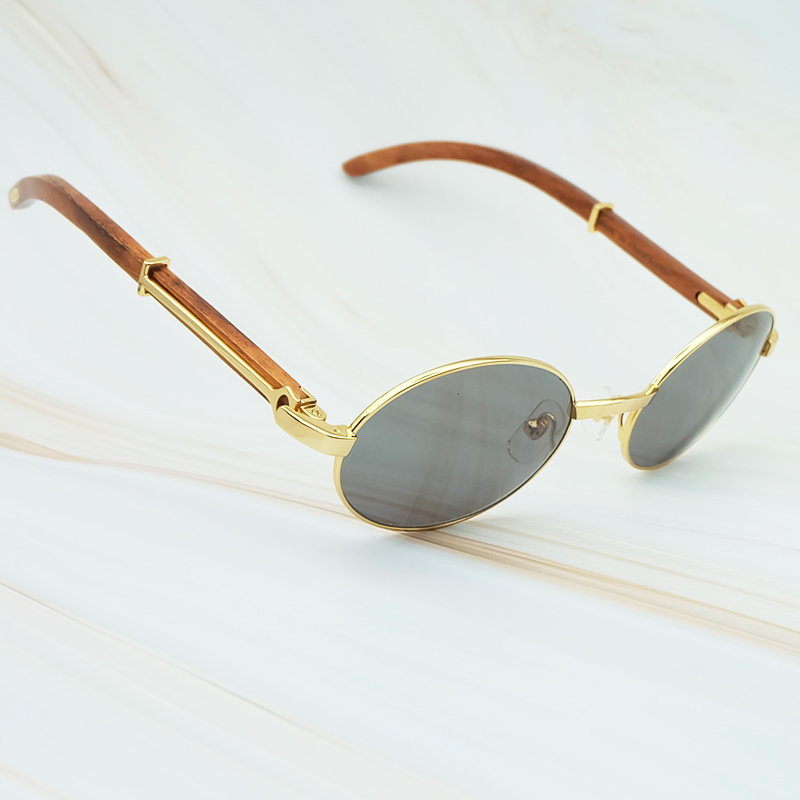 Round Metal Clasic Oval Sunglasses Full Frame Gold General Wood Glasses Men And Wen Eyewear (4)