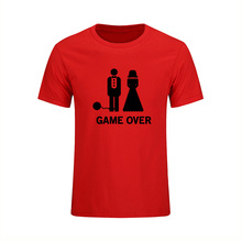 Game Over Marriage Ball And Chain Funny Wedding Gift Mens T-shirt Fashion 2017 Short Sleeve O Neck Casual Dress Large Size(China)