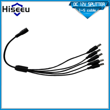 Splitter Cable 1 Female to 5 Wholesale DC Power 2.1x5.5mm Dual Male For CCTV Camera System(China)