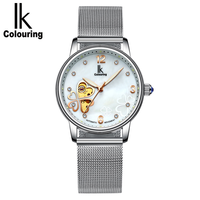 IK COLOURING Luminous Display Hollow Clover Creative Diamond Dial Fashion Women Watch<br>