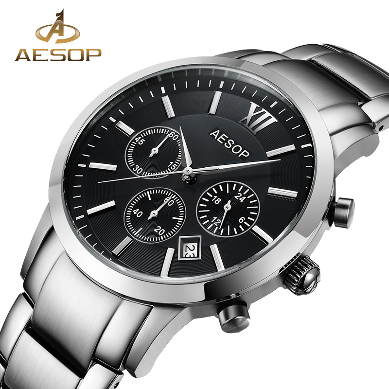 AESOP Sapphire Crystal Watch Men Sport Quartz Stopwatch Wristwatch Stainless Steel Male Clock Relogio Masculino Hodinky Box 27<br>