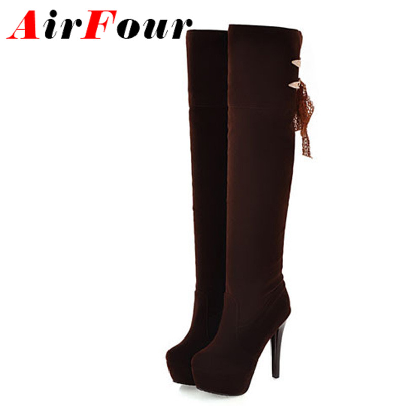 ENMAYLA Women boots European motorcycle boots Size 34-43 Knee High Long Boots Ladies Sexy Square High Heels boots Casual Shoes<br>