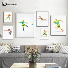 Colorful Geometry Sports Athlete Art Canvas Poster Minimalist Painting Soccer Football Wall Picture Print Modern Home Decoration