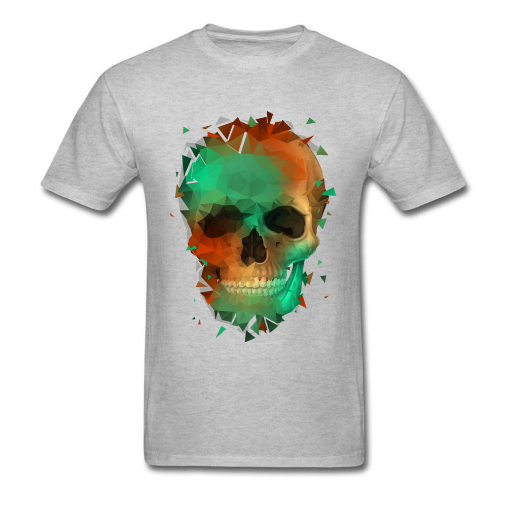 Geometry Reconstruction Skull 100% Cotton Tees for Men Design T Shirts comfortable Prevalent O-Neck Tops Shirts Short Sleeve Geometry Reconstruction Skull grey