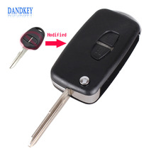 Dandkey Modified Flip Folding Remote Key Shell Case For Mitsubishi Grandis Outlander With Uncut Blank Blade 2 Buttons(China)