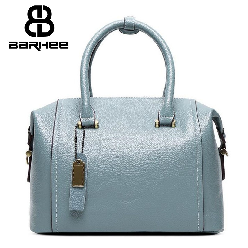 Luxury Geunine Leather Women Boston Tote Bag Pillow Handbag Ladies Messenger Bag Real Leather for Elegant Ladies Removable Belt<br>