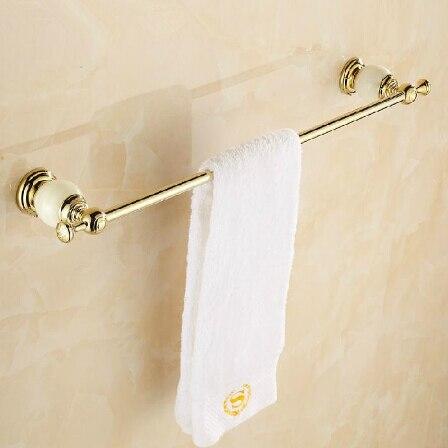 New Arrivals High Quality Golden Jade 24 inch Bathroom Towel Bar Single Towel Hanger Solid Brass Accessories Towel Rail<br>