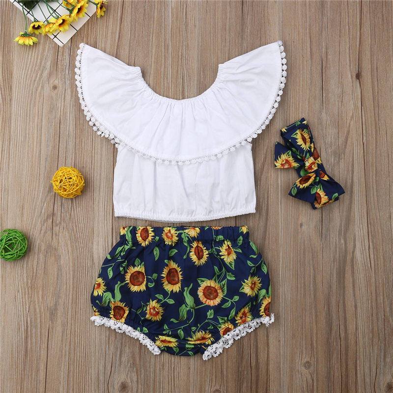 US Toddler Kid Baby Girl Clothes Sunflower Ruffle Top+Shorts 2PCS Outfits Summer
