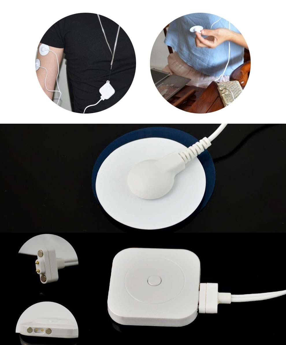 Bluetooth Therapy Muscle Stimulator for Pain Relief Electronic Pulse Massager ,Variable Size Electrodes Pads White<br>