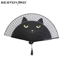 Women Cartoon Cat Folding Silk Fan Handheld Fan (Black) Hollow Out Hand Folding Fans Outdoor Dancing Wedding Party Decoration(China)