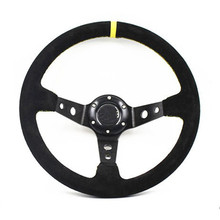 High Quality Suede leather Racing Steering Wheels OMP 14 inch 350mm Universal Deep Corn Drifting Sport Steering Wheel(China)