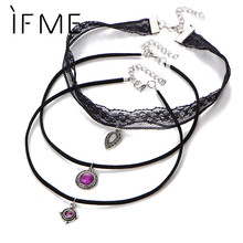 IF ME 3 Layer Steampunk Lace Choker Necklaces Sexy Pendent Velvet Short Necklace Fashion Jewelry Women Girls Accessories Collar(China)