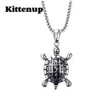 Kittenup Fashion Cute Titanium Stainless Steel Turtle Pendant Tortoise Necklace for Women Men Jewelry Gifts