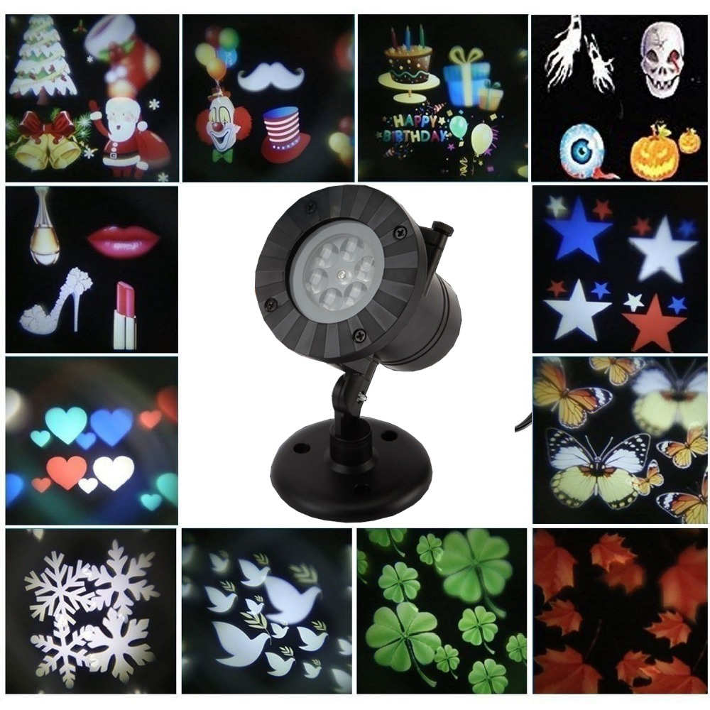 Thrisdar Rotating 12 Pattern Outdoor Laser Projector Lamps Snowflakes Star Christmas Party Landscape Garden Laser Spotlight<br>
