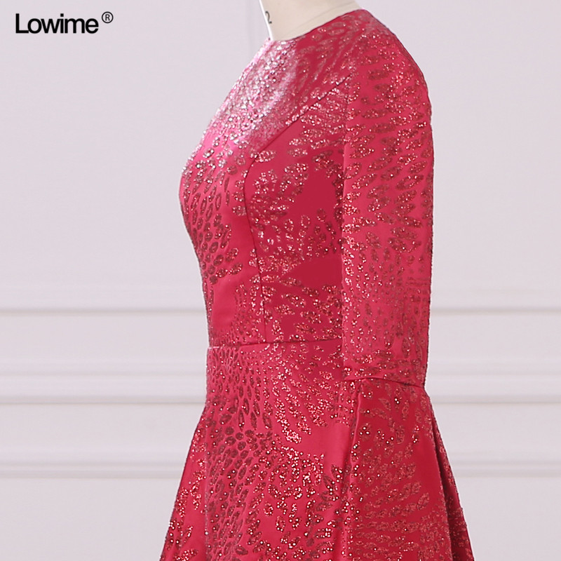 Mermaid Muslim Arabic Evening Dresses Scoop Red Custom Made Appliques Sequins Robe De Soiree Long Prom 2018 (4)