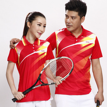 2016 New Mens and Womens BadmintonGame Shirt Young Men Quick Dry Sportswear Table Tennis T shirt