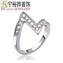JN Beautiful European and American style ring gilt jewelry lady favorite shiny zircon ring at reasonable prices for sale(China)