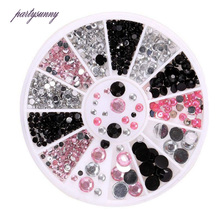 PF Mixed Color Nail Art Acryl Rhinestones for Nails Flatback Glue On Beads Nail Design Trim Stickers for Nails Phone Case TZ029