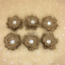 20pcs Hessian Jute Flower Diamond Burlap Rose Vintage Wedding Decoration Party DIY Gift Packing Accessories rustic wedding decor