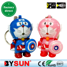 Captain America doraemon Cartoon action figure toy Light+Sound Desktop game Bag decoration Giveaway gift Torch Keychain Keyring