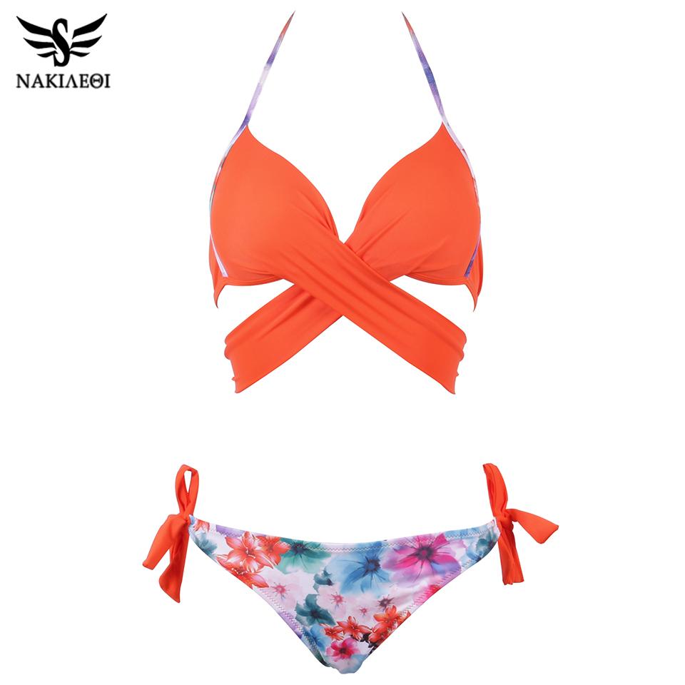 NAKIAEOI 19 Sexy Bikini Women Swimsuit Push Up Swimwear Criss Cross Bandage Halter Bikini Set Beach Bathing Suit Swim Wear XXL 26
