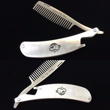 1Pc Professional Men's mustache comb Anti Static Stainless Steel Folding Comb Can Be Use As A Bottle Opener