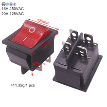 2 Pcs Red Button Rocker Switch 4 Plugs 30 * 25 * 27mm 16A 250v/ 20A 125V AC Electrical Equipment Switches Wholesale