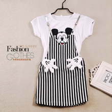 2017 New Summer Dress Teenage Girl Short Sleeve Casual Dress Baby Girl  Faux Two Pieces Striped Micky Dresses Children Clothes