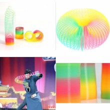 5.5*6.5 cm Colorful Funny Classic Toy For Children Gift Hot Sale Large Magic Toy Plastic Slinky Rainbow Spring Kids Toy(China)
