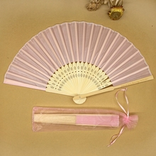 Free Shipping 10pcs/lot with Organza Bags Personalized Fabric Folding Held Hand Fan Wedding Invitation