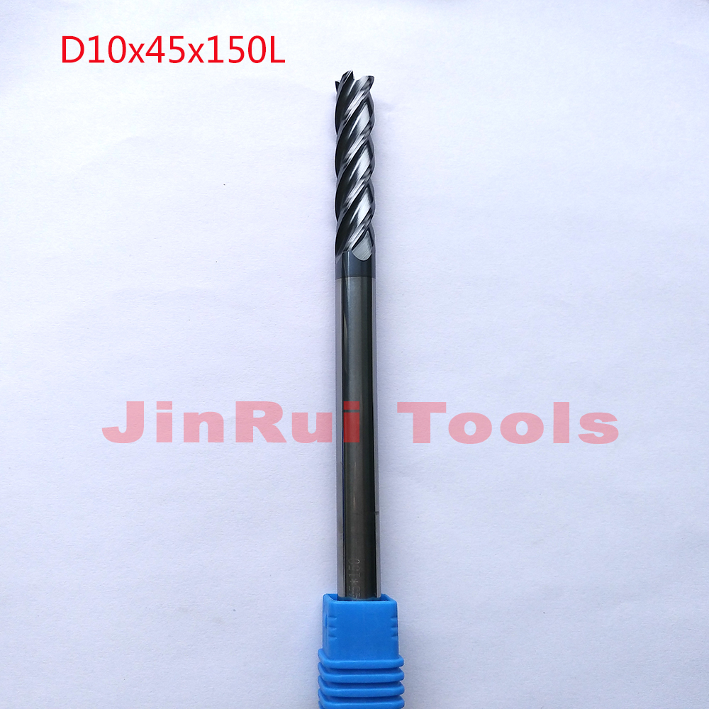 1pc  D10*45*150 HRC45  4 Flutes Flat  endmill  Solide Carbide End Mills CNC router bit milling cutter cutter Tools knife fresa<br>
