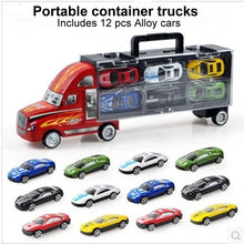 1:30 Scale Diecast Metal Alloy model Toys Diecast Metal truck Hauler +small cars For Children Gifts