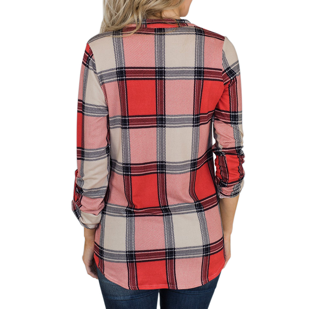 V-neck Blouse Women Long Sleeve Plaid Shirt Top Spring Autumn Casual Office Blouse Blusas Mujer De Moda 2018 Blouses Feminine4