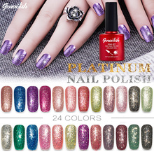 24 Colors Platinum UV Gel Shining Nail Gel Polish Long-lasting UV Fingernail Gel Soak-off LED UV Color Gel 10ML/PCS-GR(China)