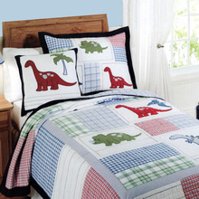 CHAUSUB Handmade Patchwork QUILT Set 2PC Quilted Cotton Quilts Bed Cover Dinosaur Design Kids Coverlet Set Pillowcase Twin Size(China)