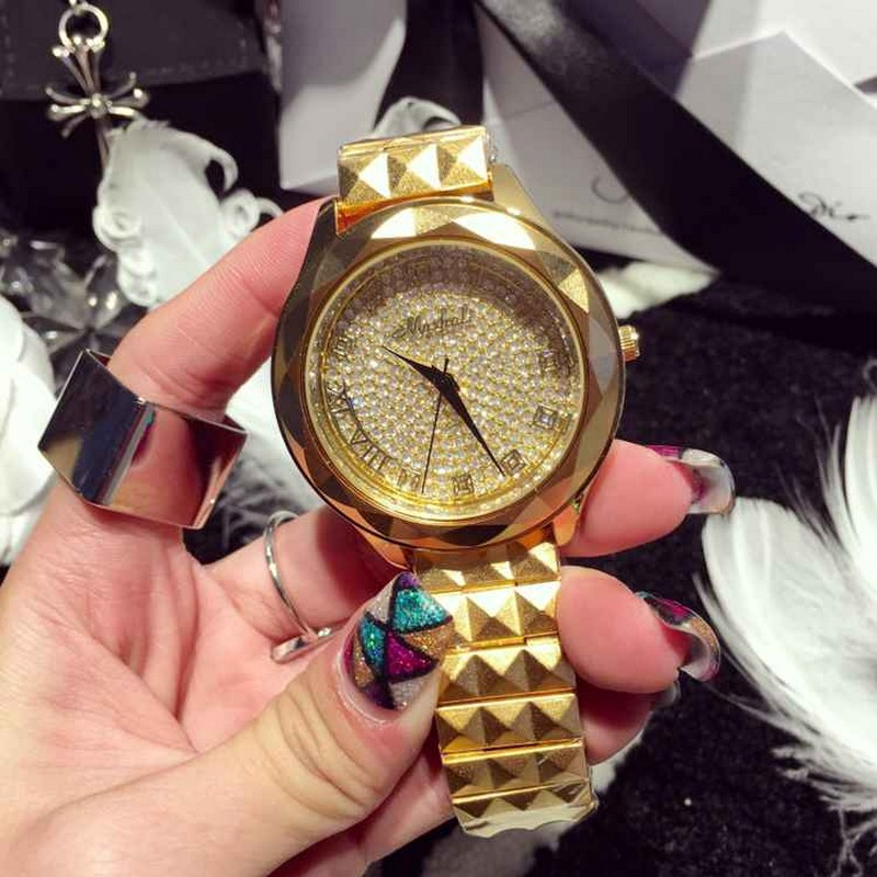 2016 New High Quality Luxury Crystal Diamond Watches Women Gold Watch Steel Strip Rose Gold Sparkling Dress Wristwatch Drop Ship<br>