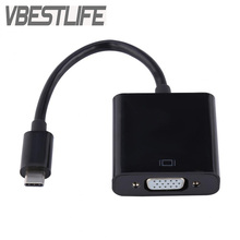 VBESTLIFE USB3.1 Type C to VGA Adapter Cable USB-C Male To VGA Female Video Transfer Converter 1080P for Macbook 12 Inch