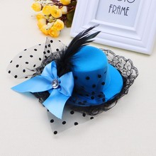 Women Bow Hair Clip Lace Feather Mini Top Hat Fascinator Fancy Party(China)
