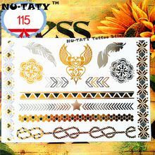 Nu-TATY 24 style Temporary Tattoo Body Art, Gold Heart rope Designs, Flash Tattoo Sticker Keep 3-5 days Waterproof 21*15cm