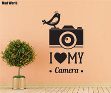 Mad World-CAMERA Love Bird Silhouette Wall Art Stickers Wall Decal Home DIY Decoration Removable Room Decor Wall Stickers()