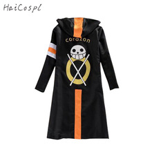 One Piece Cosplay Costume Trafalgar Law Cloak  Men Adult Black  Overcoat Japanese Anime long Sleeve With Hat Cool Style Cartoon