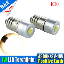10pcs/lot E10 1W chip Epistar Led Flashlight Replacement Bulb Torch Lamp Light warm white 3V 4.5V 6V 12V 18V