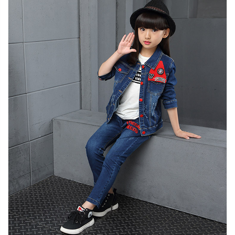 Girls Denim Jacket &amp; Girls Jeans 2pcs Clothing Set Girl Outerwear Denim Pant Girls Clothes for 3 4 6 8 10 12 Years Old RKS175005<br>