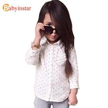 Children Girls Dot Shirts Kid's Girls Casual outwear Fashion Kids Girls Clothing 2017 New INS Style(China)