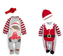 Hot Sale Autumn Winter Christmas Costume for Kids Long Sleeved Hooded Bebek Giyim Santa Claus Merry Christmas Baby Rompers 2016