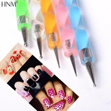HNM 5pcs 2way Dotting Pen Nail Art Tools 3D Pen Painting Manicure Tools UV Gel Nail Art Brush Nail Polish