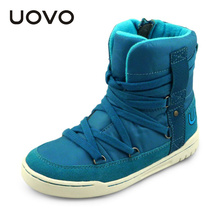 UOVO brand new fashion style children boys and girls shoes high cut winter shoes shoe lace kids sport shoes for 4-15 years old(China)