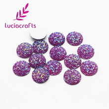 Lucia crafts 14mm Multi Colors option oval Flat back Resin Rhinestones Bag shoes decoration for DIY Accessories 24pcs 080002092(China)