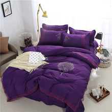 Simple Purple Flower Pattern 4pcs Bedding Sets Beddingset Bed Linen Duvet Cover Bed Sheet Pillowcase/Bed Set Queen Size Soft(China)