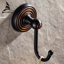 Robe Hooks Solid Brass Coat Rack Clothes Towel Hangers For Wall Bathroom Kitchen Fittings Decoration Black Door Hook HHJ-1201(China)